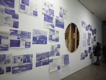 Jinyeoul Jung and Changmo Ahn, Tracing Changes in Metropolitan Seoul from the Korean War to the Present, 2011, mixed<br/> media installation, dimensions variable