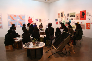 A view of Abraham Cruzvillegas's artist talk. Photo courtesy of SAMUSO