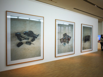 From left, Natori_Cameras (14.7m), Natori_Photo Frames (14.7m), Natori_Ransel (14.7m), 2011, light jet print, 220 x 180 cm (each)
