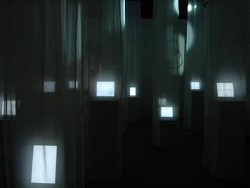 Installation view, Tokyo Metropolitan Museum of Photography, Shiriagari Kotobuki, Yuru_mation, 2010, video, sound, b&w loop