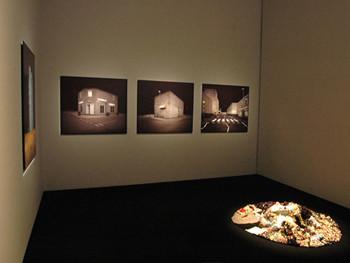Installation view, Yamamoto Gendai (Tokyo) showcases Edgar Martin's paintings and Ruriko Murayama's sculpture (on the floor) at G-tokyo