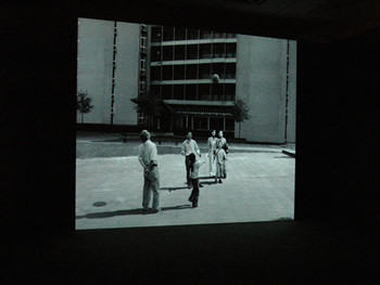 David Claerbout, Sections of A Happy Moment, 2007, video installation (HDV, sound, b&w), 25 min 57 sec