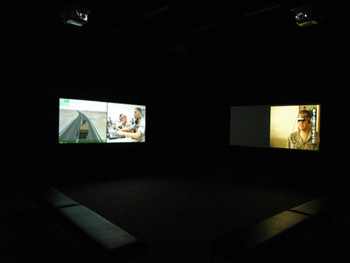 Installation view, Tokyo Metropolitan Museum of Photography, Harun Farocki, Serious Games 3: Immercion, 2-channel video installation (DV PAL, sound, color), 20 min loop
