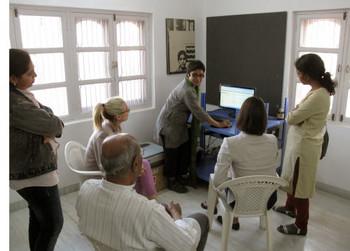 Rashmi Mala speaking about the progress of digitisation of Jyoti Bhatt's personal archive