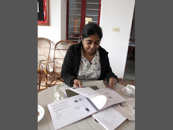 Meena Vari, Dean of Contemporary Art and Curatorial Practice at Srishti as she presents instruction booklets for DIY projects by Srishti students