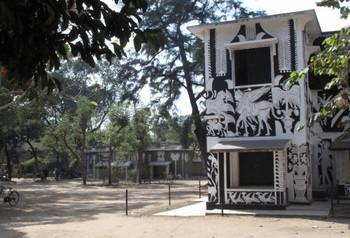 Campus of Kala Bhavana, Santiniketan with building fresco by K G Subramanyan