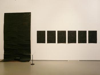 Neungkyung Sung, Nonsense Art, 1989, shoe polish, newspaper, wrapping paper, box