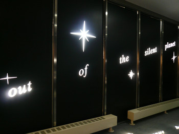 The entrance of the 'Out of the Silent Planet' exhibition at the National Museum of Contemporary Art