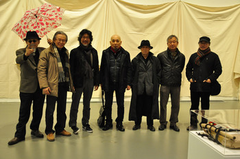(L-R): Neungkyung Sung, Kunyong Lee, Yongik Kim, Duckjun Kwak, Kulim Kim, Kangso Lee, and Myungseop Hong at the 'Above all' opening. Photo courtesy: Gyeonggi MoMA.