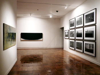 Installation view, left: Yunhee Toh, Botanical Ruins, 2004, oil, pencil on canvas; centre: Inhyeon Lee, Stratum of Painting, 1996, acrylic on canvas; right: Suntag Noh, The StrAange Ball, 2006, pigment print