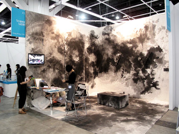 Exhibition view of 1a Space booth installed with ink work by local artist Trevor Yeung at ART HK 11