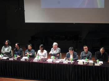 (from left) Mizuki Endo, Erin Gleeson, Agung Hujatnikajennong, Ringo Bunoan, David Elliott, Oscar Ho Hing-kay, Siu King Chung, and Yao Jui Chung at the Asian Curatorial Network Forum 'Curatorial Critique: An Asian Context', presented by Asian Cultural Council and organised by The Chinese University of Hong Kong's Department of Cultural and Religious Studies in association with The Chinese University of Hong Kong's Centre for Culture and Development