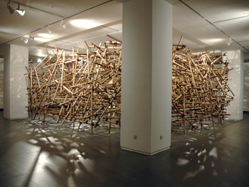 Zhang Daili, The Brown Movement (translated), 2011, installation at 'Guanxi', Guangdong Museum of Art