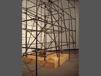Massimo Bartolini, Organi, 2008, iron, wood, blowing fan. Presented at the Yokohama Museum of Art