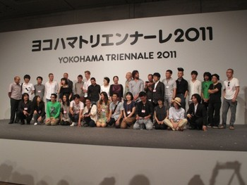 Eriko Osaka and Akiko Miki with participating artists of Yokohama Triennale 2011, Opening Ceremony of Yokohama Triennale 2011, Pacifico Yokohama