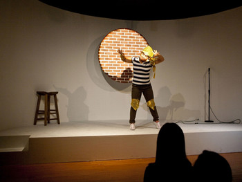 Comedian performing her act at Michael Portnoy's Taipei Women's Experimental Comedy Club, Performance, TFAM, 2010.<br/> Courtesy of TFAM.