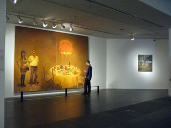 Works by Zhang Lujiang. (Left) Dinner, 2008, oil on canvas