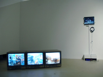 The exhibition stand entitled ' What is Knowledge: Zhang Peili's New Media Art Teaching Practice'