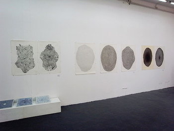 Li Wen, Untitled, 2011, pencil on paper, porcelain plates, 71 x 101.5 cm