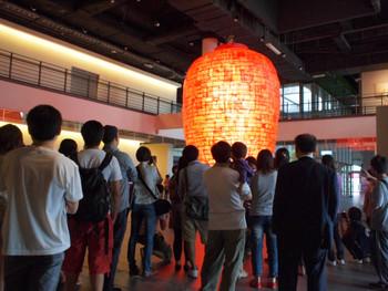 Viewers congregated around Heart, artist Aida Makoto's (會田誠) big lantern, 2011, mixed media, 515 x 325 cm