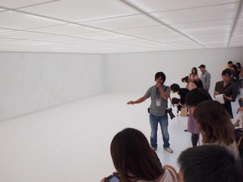 Ohmaki Shinji, Echoes: Crystallization, 2008 – 2011, crystal powder, white-out, acrylic board, glass lamp, 500 x 850 cm, diameter: 30