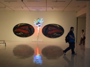 Leslie De Chavez, Revolutionary Past for Future Doubt, 2010, oil on shaped canvas, neon lights, canvas: 300 x 195 cm (each), neon lights: 241 x 129 cm