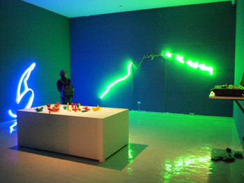 Hamra Abbas, Love Yourself, 2009, silicon, neon light, vibration, pelican case 1720, dimensions variable (installation view)