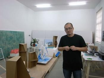 Shanghai artist Shi Qing in his studio.