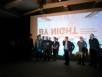 Curator Hou Hanru introducing the participating artists of 'By Day, By Night' at the exhibition's opening, Rockbund Museum, Shanghai. (From left to right:) Sam Samore, Tu Weicheng, Pedro Cabrita Reis, Shahzia Sikander, Hou Hanru, Choi Jeong Hwa and Nedko Solakov.