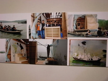 Photographs adjacent to Liu Xiaodong's paintings, Getting Out of Beichuan, documenting the process of the artist's working process.