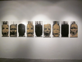 Do Hoang Tuong, Faces from Post Vidai Collection, 2005, acrylic and sand on canvas