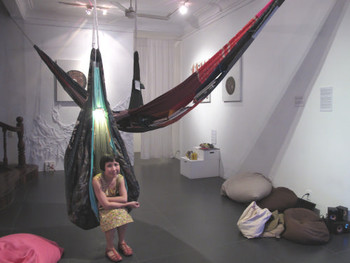 Hong Kong artist Jaffa Lam with her Mobile Library Containers