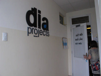 Entrance of dia/projects, the studio of Richard Streitmatter-Tran, and a semi-public contemporary art space with a library and archive