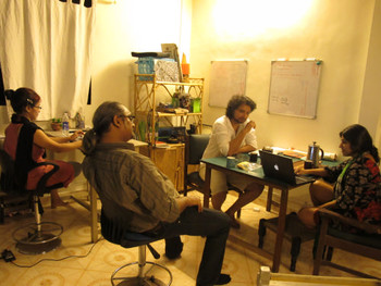 CAMP (Ashok Sukumaran, Shaina Anand and Zinnia) in their studio with designer Samir Parker