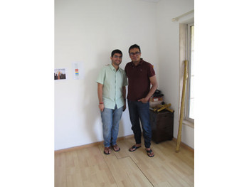Jitish Kallat with his Communication and Archive Assistant Abhinit Khanna