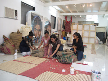 Reena Saini Kallat, in her studio with Jigna Padhiar and technical assistance