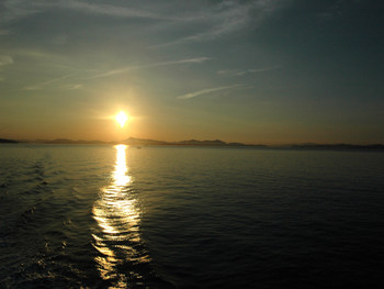 Sunset view of islands in the Seto Inland Sea.