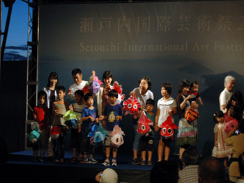 Local kids who participated Project for Sea-Light in Takamatsu
