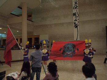 A peculiar opening event of 'Republic without People' taking place in the lobby of Kaohsiung Museum of Fine Arts