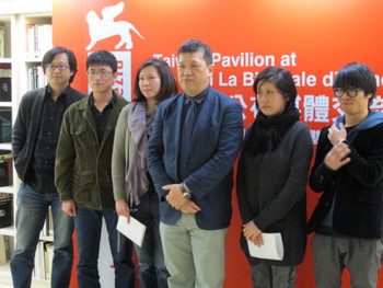 At the Taiwan Pavilion's pre-Venice Biennale press conference. (from right) artist Su Yu-Hsien, artist Wang Hong-Kai, TFAM director Wu Kwang-Tyng, curator Amy Cheng, music critic Jeph Lo, and music critic Chang Tieh-Chih.