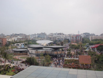 A view of the 2010 Taipei International Flora Expo from the top of TFAM