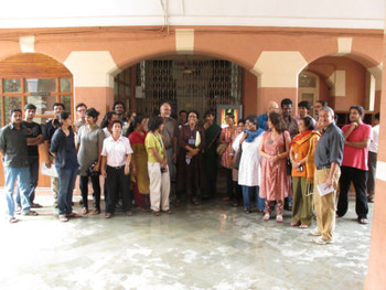 Workshop participants and resource persons during a site-study of the Baroda Museum and Picture Gallery.