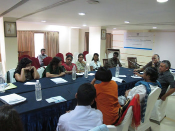 Art historian Tapati Guha Thakurta speaking during the discussion forum between workshop participants.