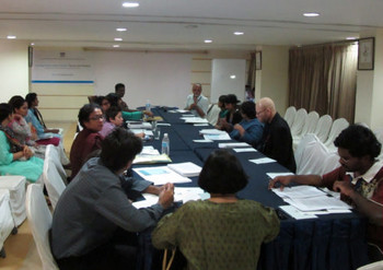 Professor Shivji Panikkar and Santosh S. commencing the Curating Visual Culture workshop in Baroda on the 13th September 2010.