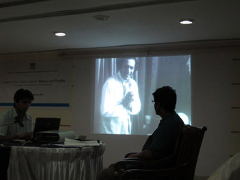 Devdutt Trivedi, a teacher of film studies presenting his paper, chaired by art historian Anshuman Dasgupta.
