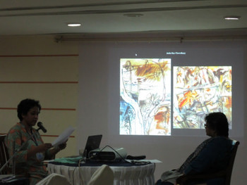 Art history research scholar Nandini Ghosh presenting her curatorial proposal, chaired by artist Shukla Sawant.