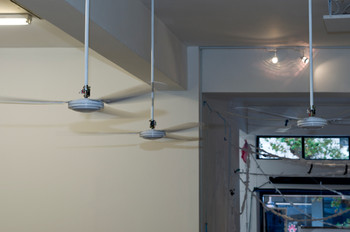 Simon Gush, Perfect Lovers (tripartite), ceiling fans, 2012.