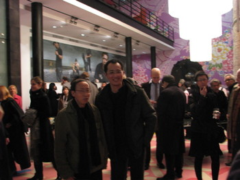 Artists Huang Yong-ping and Qiu Zhijie at the opening of reception of 'Breaking Through the Ice'