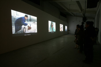 Installation view of Alexander Brandt solo exhibition 'Neo Utopia' at BizArt Centre, 2004