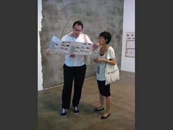 Tobias Berger, chief curator of Nam June Paik Art Center, with Chantal Wong.